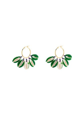 Venessa Arizaga gold-plated Palm tree-print Shell Earrings - Farfetch