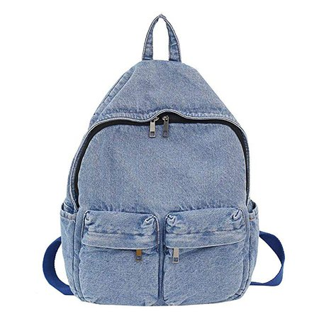 Amazon.com: Gowersdee Canvas Retro Denim Backpack Vintage Shoulder Bags Wind Harajuku Day-pack Slim Durable Backpack College School Bag Travel Backpack for Women (Light Blue): Gowersdee