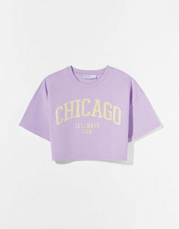 Printed short sleeve sweatshirt - Tees and tops - Woman | Bershka