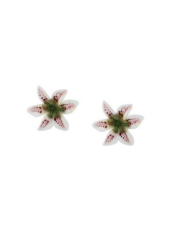 Dolce & Gabbana Lily Embellishment Clip-On Earrings