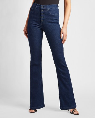 High Waisted Button Fly Flare Jeans