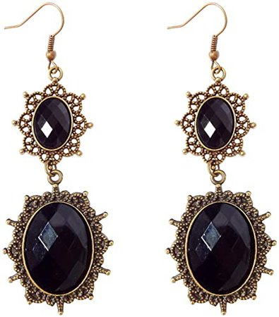 Amazon.com: RareLove Lolita Black Rhinestone Teardrop Chandelier Dangle Earrings (Black drop): Clothing