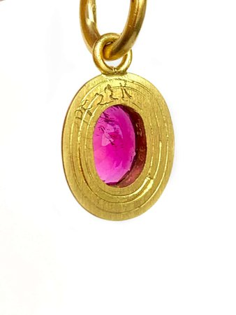 Rubellite and 22 Karat Gold Drop Earrings For Sale at 1stDibs