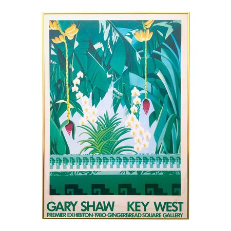 "Vintage 1980 "" Gary Shaw Key West "" Tropical Botanical Lithograph Print Framed Exhibition Poster 