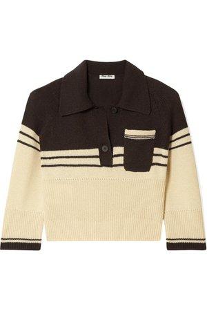 Miu Miu | Cropped striped cashmere polo shirt | NET-A-PORTER.COM