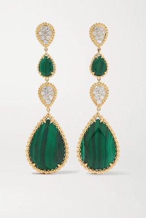 Gold Serpent Bohème 18-karat gold, malachite and diamond earrings   Boucheron   NET-A-PORTER