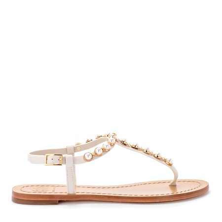 Tory Burch Emmy White Leather And Pearls Sandal
