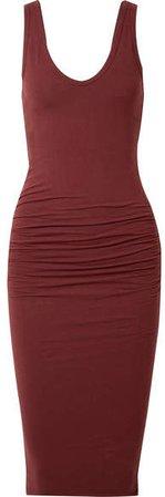 Ruched Stretch-cotton Jersey Midi Dress - Claret
