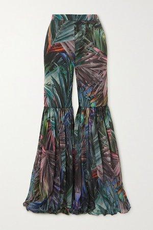 Pleated Metallic Printed Chiffon Flared Pants - Green