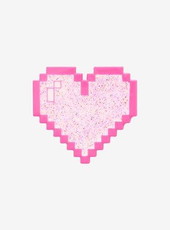 Pink Pixel Heart Enamel Pin