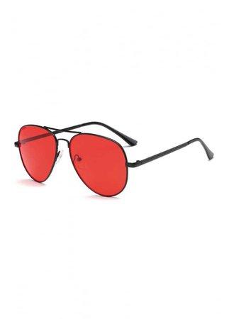ATTITUDE CLOTHING // Red Lens Aviator Sunglasses