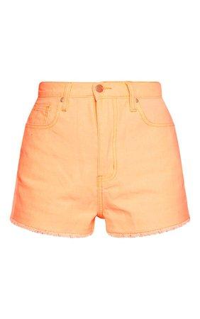 Neon Orange Denim Shorts   Denim   PrettyLittleThing