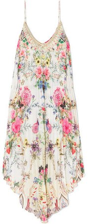 Asymmetric Pleated Floral-print Crepe De Chine Dress - White