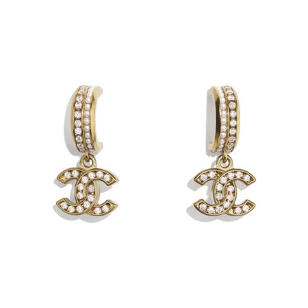 Metal, Glass Pearls & Strass Gold, Pearly White & Crystal Earrings | CHANEL