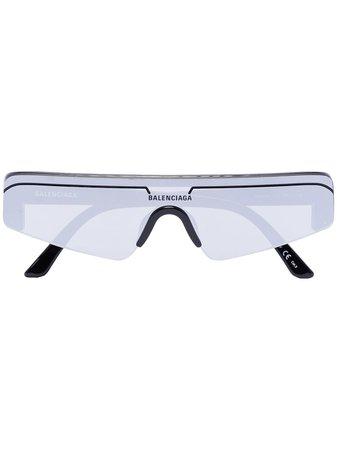 Black Balenciaga Eyewear Ski rectangular-frame sunglasses - Farfetch