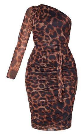 Lilac Mesh One Shoulder Tie Waist Midi Dress | PrettyLittleThing