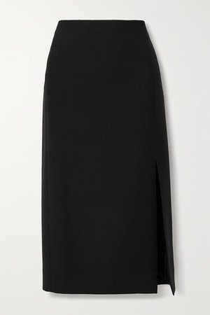 Wool And Silk-blend Midi Skirt - Black