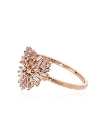 Suzanne Kalan White And Rose Gold Mini Heart Firework Diamond Ring   Farfetch.com