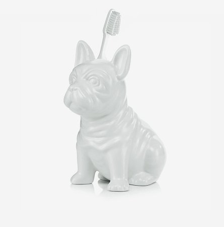 French Bulldog White Ceramic Toothbrush Holder - French Bulldog Home ♥ Online Store for Frenchies Fans