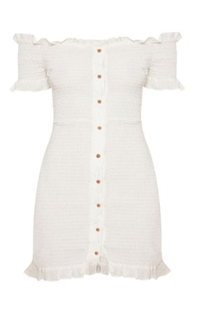WHITE SHIRRING BUTTON DETAIL BARDOT BODYCON DRESS