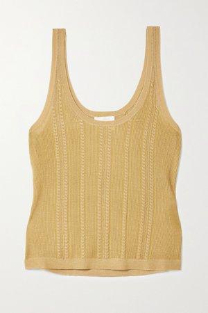 Gold Metallic cable-knit silk tank | Chloé | NET-A-PORTER