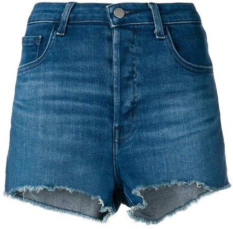 frayed edges denim shorts