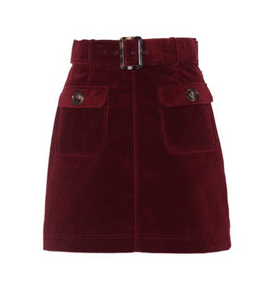 Belted corduroy miniskirt
