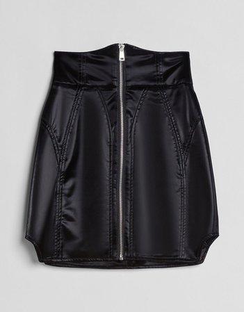 Vinyl skirt with corset waist - NEW - Woman | Bershka