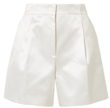 white leather formal shorts