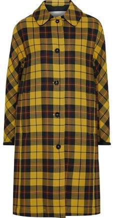 Checked Wool And Silk-blend Coat
