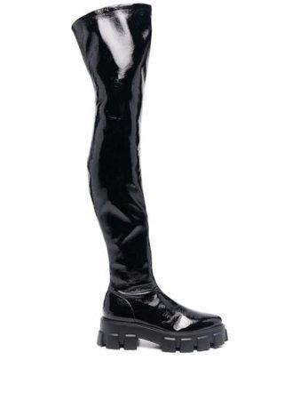 Prada Faux Leather Thigh Boots - Farfetch