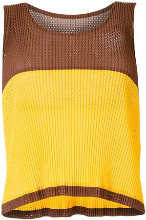 Issey Miyake Pre Owned Pleated Tank Top