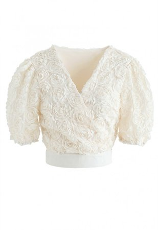 3D Roses Wrapped Crop Top in Cream - NEW ARRIVALS - Retro, Indie and Unique Fashion