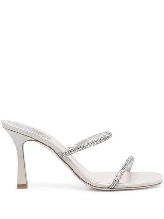 René Caovilla crystal-embellished Satin Sandals - Farfetch