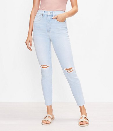 The Destructed High Waist Skinny Ankle Jean in Bleach Out Wash