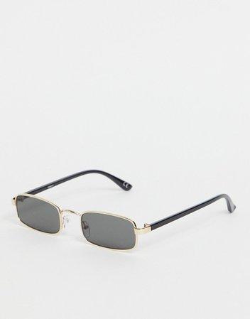 ASOS DESIGN 90s small metal rectangle sunglasses in gold   ASOS
