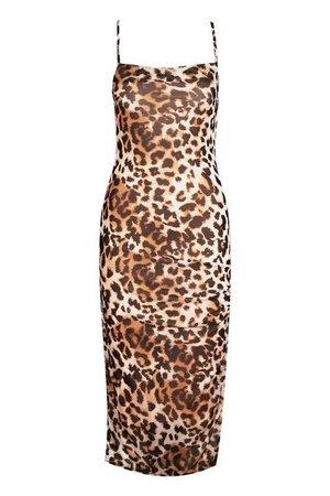 Leopard Mesh Midaxi Dress | boohoo