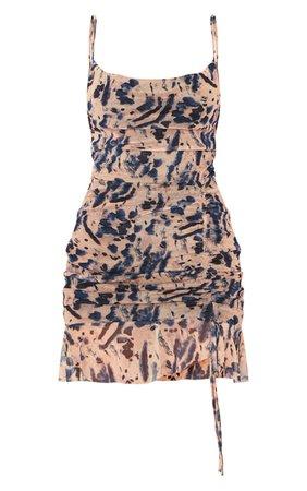 Multi Mesh Tie Dye Print Ruched Bodycon Dress | PrettyLittleThing USA