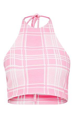 Pink Check Print Halterneck Crop Top | Tops | PrettyLittleThing USA