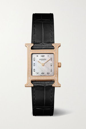 Black Heure H 21mm small 18-karat rose gold, alligator, mother-of-pearl and diamond watch | Hermès Timepieces | NET-A-PORTER