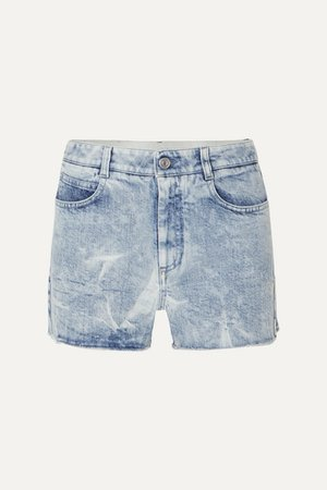 Net Sustain Embroidered Distressed Denim Shorts - Blue