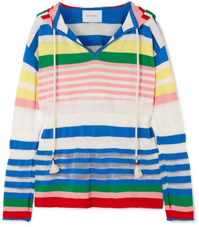 Striped Cotton-blend Hoodie - Blue