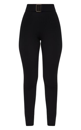 Black Belt Trim Detail Fitted Trousers