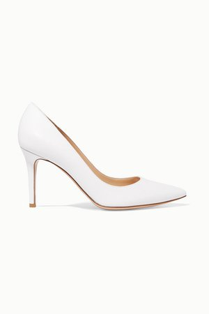 85 Leather Pumps - White
