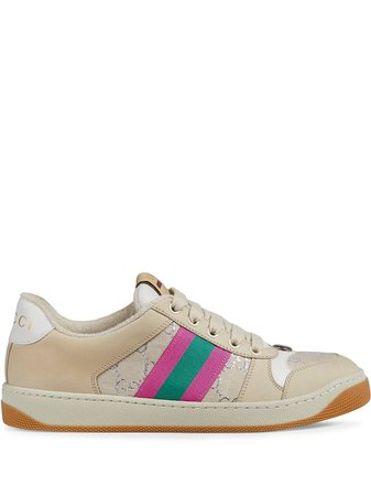 White & pink Gucci Screener leather sneakers - Farfetch