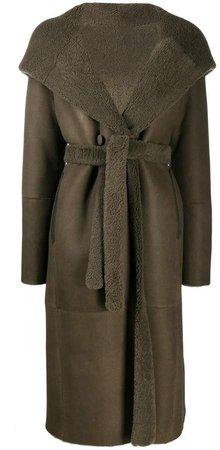 Liska fur-trimmed hooded trench coat