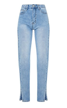 Blue Split Hem Washed Straight Leg Jeans   PrettyLittleThing USA