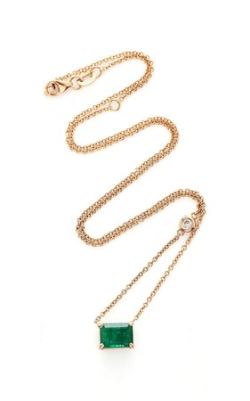Shay 18K Rose Gold Emerald And Diamond Necklace