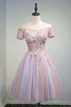 Light Blue And Pink A-line Cute Homecoming Dresses Short Prom Dresses – Bohogown