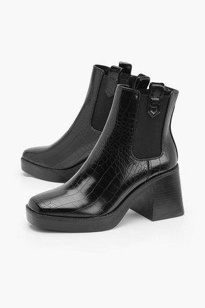 Croc Chunky Heel Chelsea Boots | boohoo